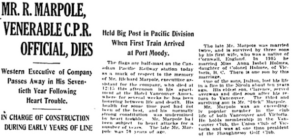 Vancouver Daily World, June 8, 1920, page 1, column 7; page 11, column 5 [selected portions].