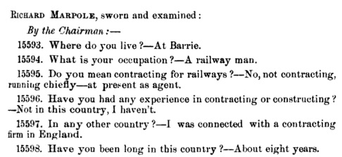 Royal Commission to Inquire into Matters Connected with the Canadian Pacific Railway [evidence], volume 2, 1882, page 1063 [beginning of testimony]; https://books.google.ca/books?id=R3IpAAAAYAAJ&pg=PA1063#v=onepage&q&f=false.