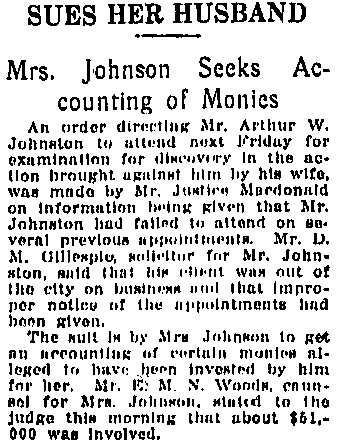 Vancouver Daily World, October 21, 1915, page 9, column 4.