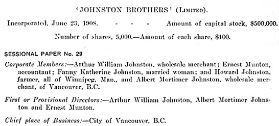 Synopsis of Letters Patent of Johnston Brothers, Limited, Report of the Secretary of State of Canada for the year ended March 31st, 1909; pages 59-60 [first portion of synopsis]; https://archive.org/stream/1910v44i18p29_0675#page/n69/mode/1up.