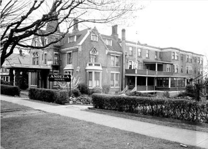 The Angela Hotel, 923 Burdett Avenue, Victoria, British Columbia, 1948; British Columbia Archives, Item I-01920; http://search-bcarchives.royalbcmuseum.bc.ca/angela-hotel-923-burdett-avenue-formerly-angela-college-for-girls-later-to-become-mount-st-angela-hospital.