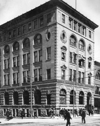 The Molson's Bank Building [corner of Seymour & Hastings], probably between 1910 and 1919; Vancouver City Archives, Item : M-11-29; http://searcharchives.vancouver.ca/molsons-bank-building-corner-of-seymour-hastings.