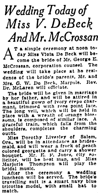 Vancouver Sun, March 15, 1922, page 6, column 1.