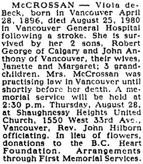 Vancouver Sun, August 27, 1980, page E5, image 65, column 4.