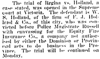 Vancouver Daily World, February 22, 1900, page 5, column 4.