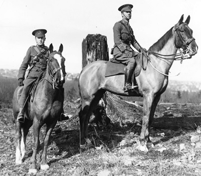 "W.S. Holland and Major Boorman on ""Credential"" at Little Mountain, 1911, Vancouver City Archives, Mil P316; http://searcharchives.vancouver.ca/w-s-holland-and-major-boorman-on-credential-at-little-mountain."