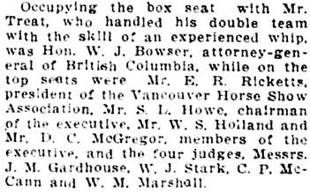 """Horse Show is Inaugurated,"" [extract] Vancouver Daily World, April 22, 1913, page 4, column 3."