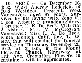 Vancouver Sun, December 18, 1962, page 34, column 2.