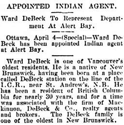 Vancouver Daily World, April 4, 1902, page 1, column 4.