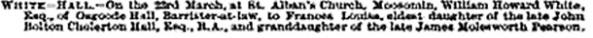 Law Times, May 14, 1887, page 38, column 2; https://books.google.ca/books?id=suE5AQAAIAAJ&pg=PA38#v=onepage&q&f=false.