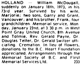 Nanaimo Daily News, January 20, 1973, page 11, column 6.