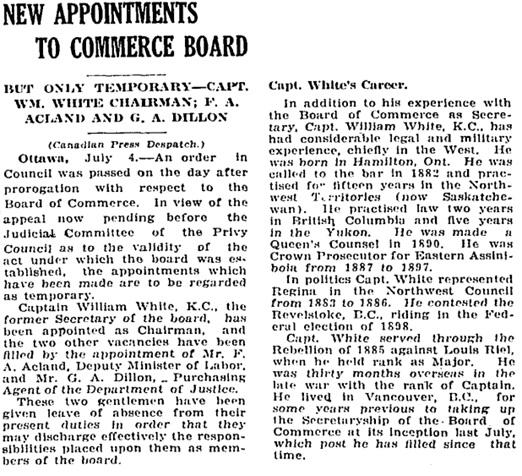 Toronto Globe, July 5, 1920, page 20, column 3.