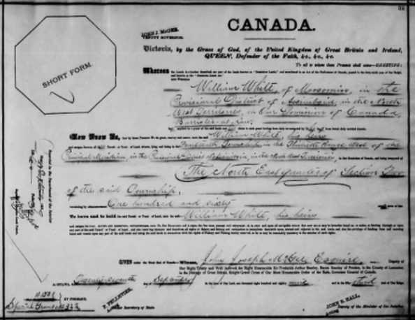 William White, land grant, September 27, 1889; https://www.bac-lac.gc.ca/eng/discover/land/land-grants-western-canada-1870-1930/Pages/item.aspx?IdNumber=35458&; Name: William White; Part: NE; Section: 2; Township: 14; Range: 30; Meridian: W1; Folio: 32; Liber: 60; Microfilm Reel Number: C-5986; Item Number: 35458.