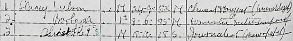 The National Archives; Kew, London, England; 1939 Register; Reference: RG 101/2606B; Ancestry.com. 1939 England and Wales Register [database on-line]. Lehi, UT, USA: Ancestry.com Operations, Inc., 2018. Name: Welson [sic] Stacey; Gender: Male; Marital Status: Married; Birth Date: 24 Sep 1852 [sic]; Residence Year: 1939; Address: Arescroft [sic]; Residence Place: Worthing, Sussex, England; Occupation: Chemist & Drugpot [sic] (Unemployed); Schedule Number: 348; Sub Schedule Number: 1; Enumeration District: EMLG; Registration district: 84/1.