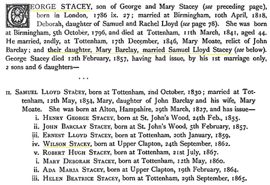 Wilson Stacey, in The Pedigree of Wilson of High Wray and Kendal and the Families Connected with Them, by Joseph Foster, 1871, page 110; https://books.google.ca/books?id=VEwWAAAAYAAJ&pg=PA110#v=onepage&q&f=false.