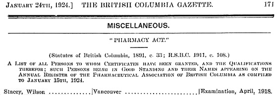 Wilson Stacey, register of pharmacists, British Columbia Gazette, January 24, 1924; pages 171 and 174 [selected portions]; https://archive.org/details/governmentgazett64nogove_n0q6/page/171; https://archive.org/details/governmentgazett64nogove_n0q6/page/174.
