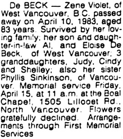 Vancouver Sun, April 12, 1983, page 36, column 4.