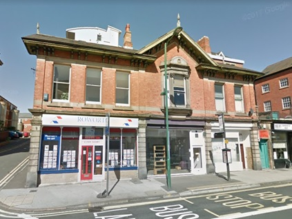 164-168 Derby Road (at intersection with Hermon Street), Nottingham, England; Google Streets: searched September 24, 2018; image dated September 2012.
