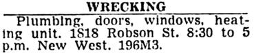 Vancouver Sun, March 5, 1954, page 30, column 2.