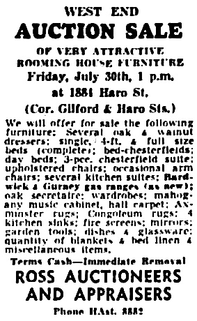 Vancouver Sun, July 29, 1954, page 39, column 3.