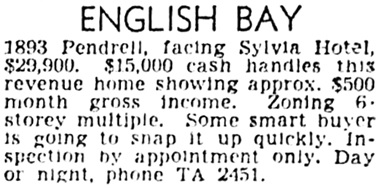 Vancouver Province, January 24, 1953, page 36, column 8.