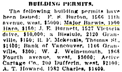 Vancouver Daily World, March 24, 1911, page 21, column 3.