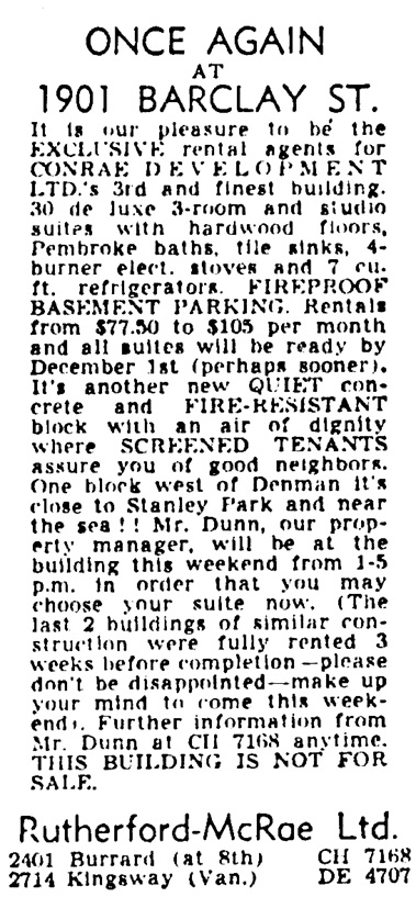 Vancouver Province, October 23, 1953, page 39, column 4.