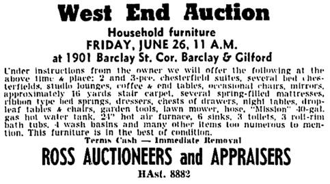 Vancouver Sun, June 25, 1953, page 40, columns 1-2.