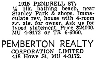 Vancouver Sun, July 9, 1960, page 39, column 3.