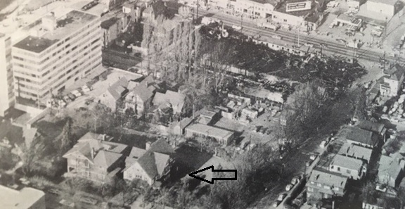 1919 Robson Street; from Vancouver: From Milltown to Metropolis, by Alan Morley; Vancouver, Mitchell Press, 1961, facing page 210; original photograph by George Allen Aerial Photos.
