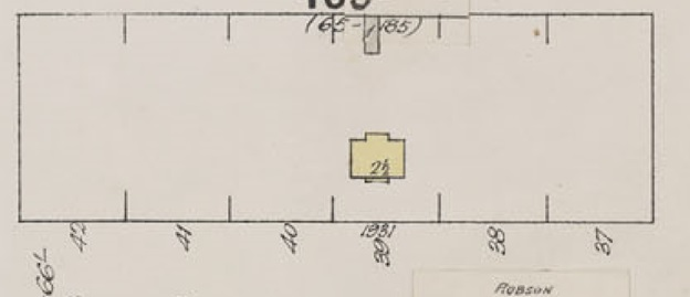 1931 Robson Street, detail from Insurance plan - City of Vancouver, July 1897, revised June 1901 - Sheet 43 - Coal Harbour to Comox Street and Bidwell Street to Stanley Park.