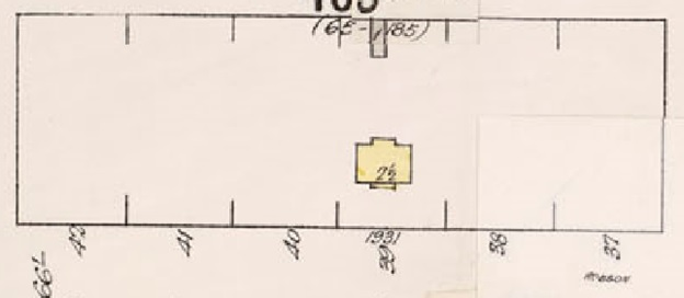 1931 Robson Street, detail from Insurance plan - City of Vancouver, July 1897, revised June 1903 - Sheet 43 - Coal Harbour to Comox Street and Bidwell Street to Stanley Park.