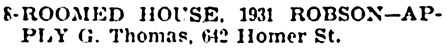 Vancouver Province, November 22, 1902, page 10, column 5 [to let].