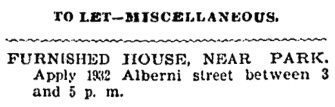 Vancouver Province, August 15, 1903, page 10, column 6.
