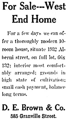 Vancouver Province, July 9, 1909, page 20, column 2.