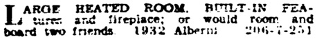 Vancouver Province, November 30, 1929, page 19, column 7 [Unfurnished Suites and Rooms].