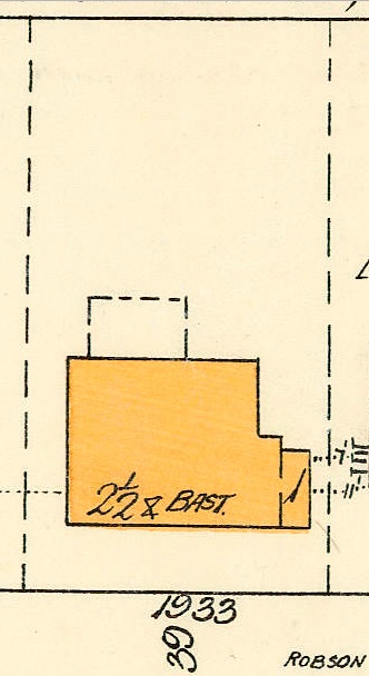 1933 Robson Street, detail from Goad's Atlas of Vancouver, Volume 1, Plate 48 [Denman Street to Georgia Street to Chilco Street to Haro Street]; https://searcharchives.vancouver.ca/plate-48-denman-street-to-georgia-street-to-chilco-street-to-haro-street.