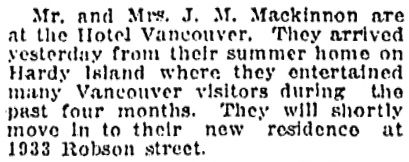 Vancouver Province, October 19, 1911, page 5, column 3.