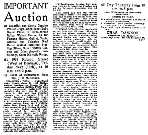 Vancouver Province, October 9, 1919, page 23, column 3.