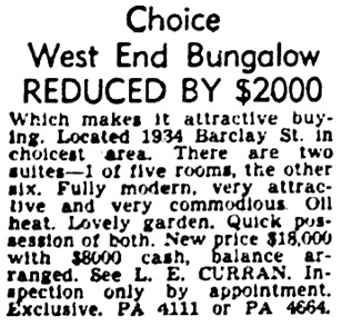 Vancouver Province, February 9, 1952, page 33, column 1.