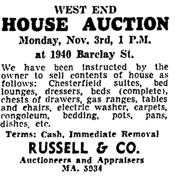 Vancouver Sun, November 1, 1952, page 50, column 6.