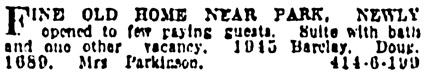 Vancouver Province, November 14, 1924, page 30, column 8.