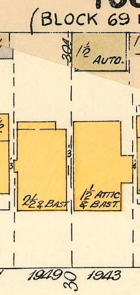 1949 Comox Street and 1943 Comox Street; detail from Goad's Atlas of Vancouver, volume 1; Plate 54 Denman Street to Comox Street to Stanley Park boundary to English Bay]; Vancouver City Archives, 1972-582.38; https://searcharchives.vancouver.ca/plate-54-denman-street-to-haro-street-to-chilco-street-to-comox-street.