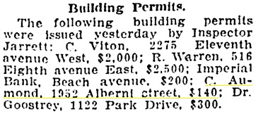Vancouver Province, March 24, 1910, page 18, column 3.