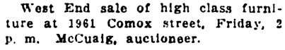 Vancouver Daily World, January 4, 1911, page 20, column 3.