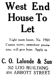 Vancouver Daily World, January 11, 1911, page 26, column 7.