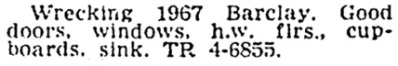 Vancouver Province, December 5, 1964, page 38, column 2.