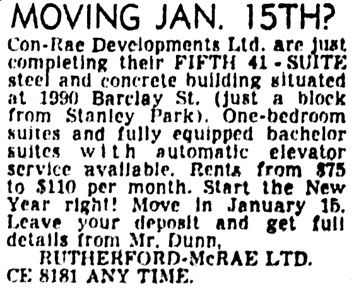 Vancouver Province, December 30, 1954, page 23, column 8.