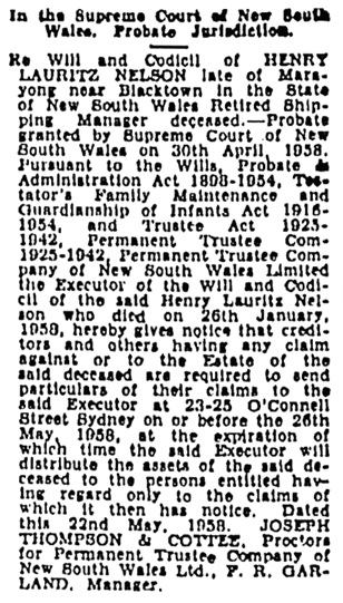 Sydney Morning Herald (Sydney, New South Wales, Australia), May 23, 1958, page 17, column 10.