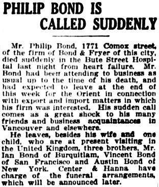 Vancouver Province, July 27, 1920, page 11, column 3.